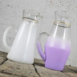 Blendo Cocktail Pitchers One White One Lavender West Virginia Glass Vintage Mid Century