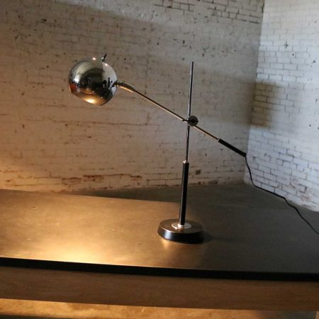 Articulating Chrome and Black Ball Orb Task Lamp Attributed to Robert Sonneman