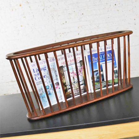 Larger Walnut Oval Magazine Rack Attributed to Arthur Umanoff for Washington Woodcraft