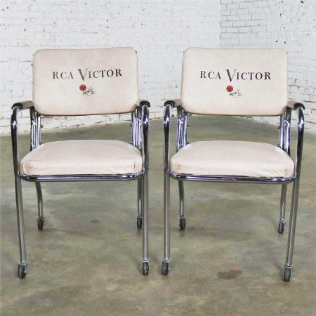 Vintage Pair Art Deco Streamline Modern RCA Victor Advertising Chairs by Chromcraft