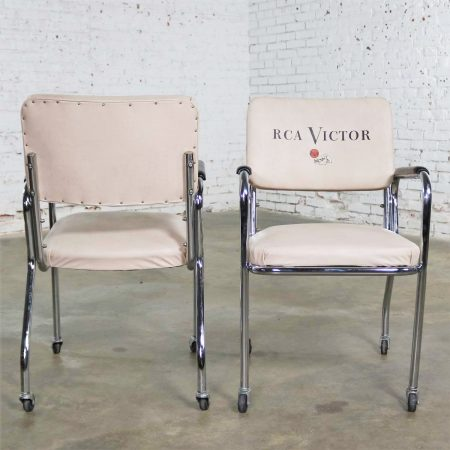 Vintage Pair Art Deco Streamline Modern RCA Victor Advertising Chairs by Chromcraft