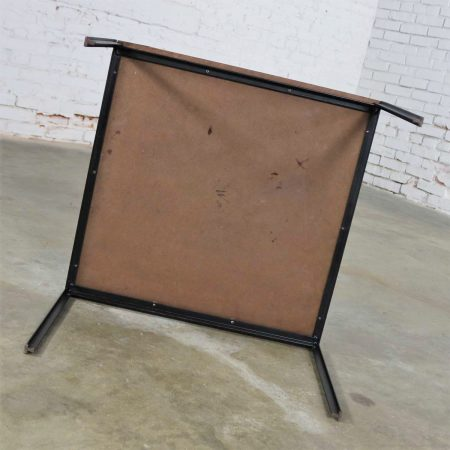 Miss Matched Mid Century Modern Black Wrought Iron Side Tables with Laminate Tops