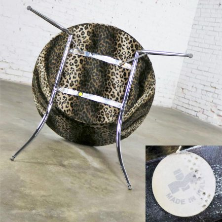 Animal Print and Chrome Round Hoop Bucket Chair Made in Italy