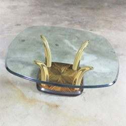 Henredon Zebra Wood Faux Tusk Coffee or Cocktail Table with Glass Top