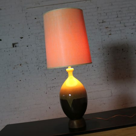 Large Mid Century Modern Ceramic Table Lamp with Brown and Golden Yellow Drip Glaze