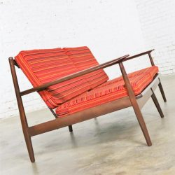 Vintage Danish or Scandinavian Modern Loose Cushion Sofa New Red Stripe Upholstery
