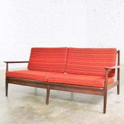 Vintage Danish or Scandinavian Modern Loose Cushion Sofa New Red Stripe Upholstery