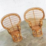 Pair of Wicker Rattan Peacock Fan Back Chairs Vintage Bohemian Hollywood Regency