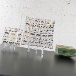 Georges Briard Square Glass Dessert Set in Gold Clear Forbidden Fruit Border Pattern