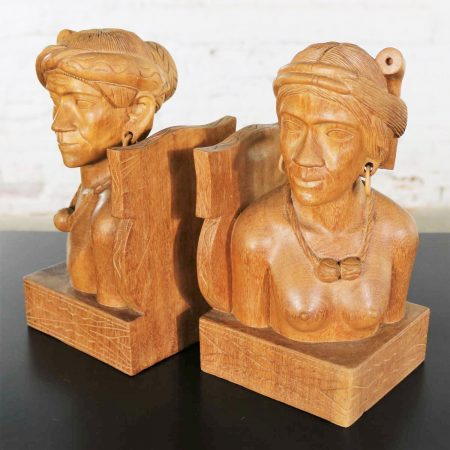 Pair Hand Carved Wood Tribal Figural Male and Female Bookends