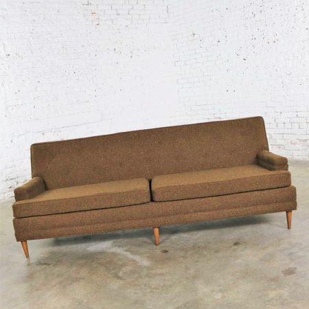 Brown Tweed MCM Tuxedo Sofa Tight Button Back Manner of Baughman or Wormley