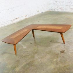 Mid Century Modern Lane Boomerang Coffee Table with Inlaid Burl Style #1929