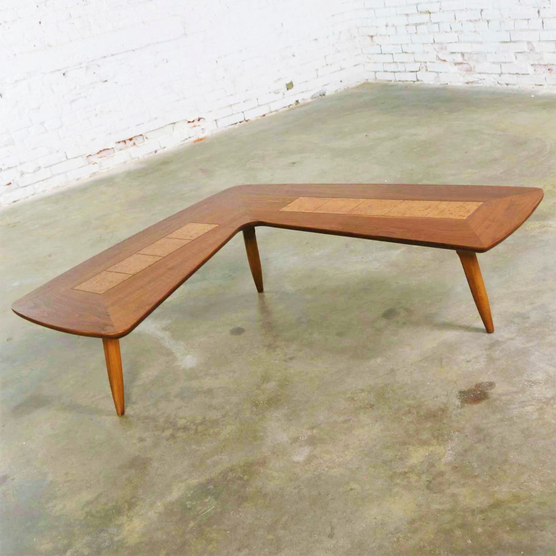 - Mid Century Modern Lane Boomerang Coffee Table With Inlaid Burl