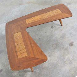 Mid Century Modern Lane Boomerang Coffee Table with Inlaid Burl Style #1929
