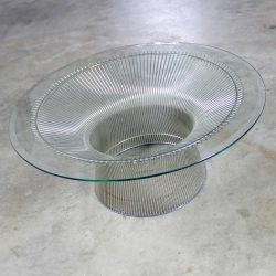 Warren Platner Nickel Steel Rod Coffee Table for Knoll Beveled Glass Top