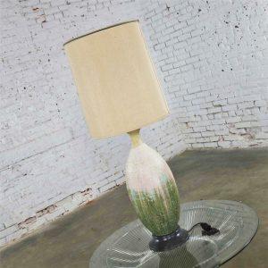 Large Mid Century Modern Ceramic Table Lamp with Cream Fuchsia Green Drip Lava Glaze