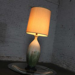 Large Mid Century Modern Ceramic Table Lamp with Cream Fuchsia Green Drip Lava Glaze