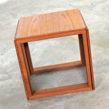 Scandinavian Modern Cube of Three Teak Nesting Tables by Kai Kristiansen