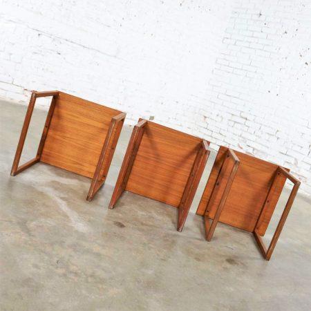 Scandinavian Modern Cube of Three Teak Nesting Tables by Kai Kristiansen