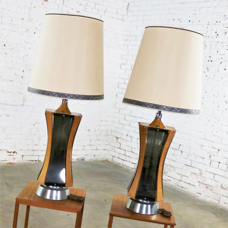 Pair of Walnut Smoke Gray Lucite and Chrome Mid Century Modern Monumental Lamps