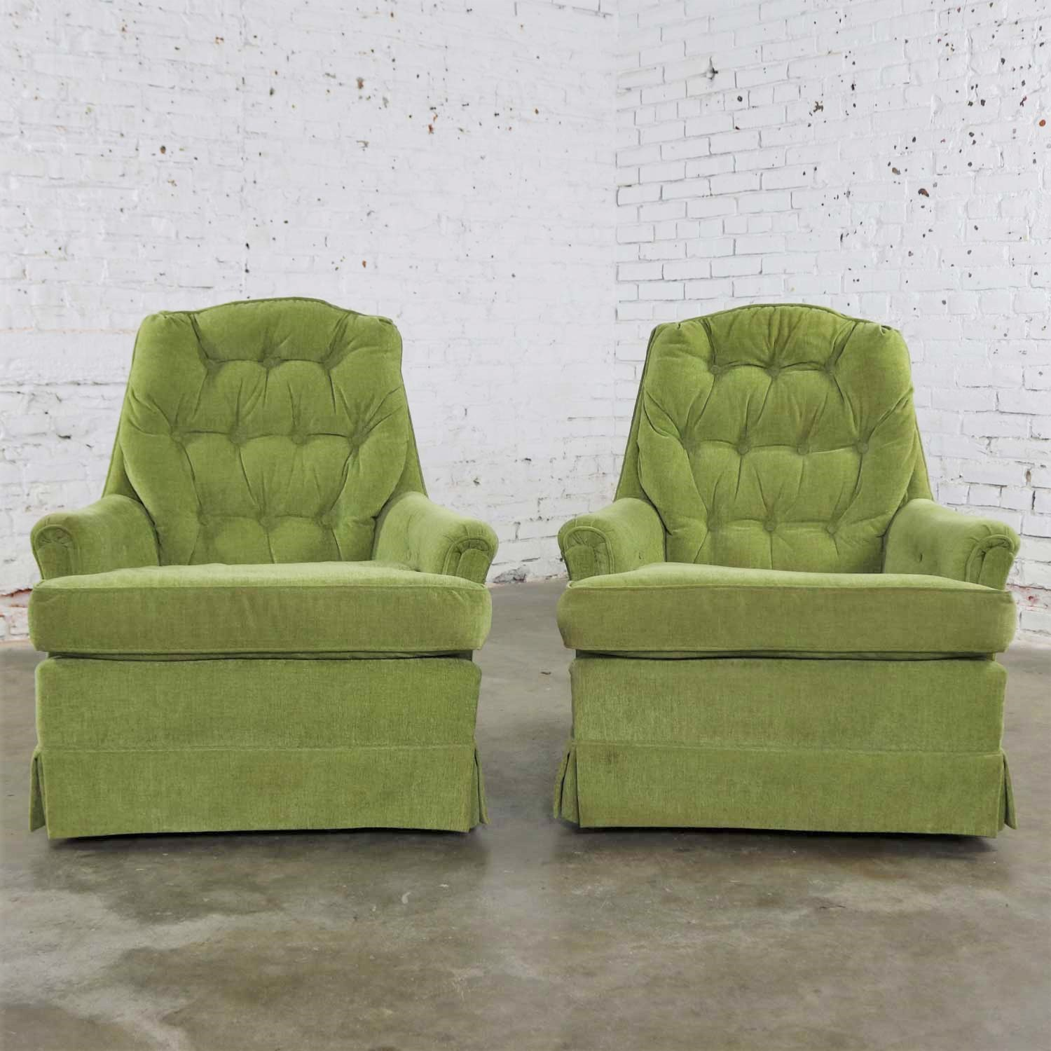 Chartreuse Green Velvet Swivel Rocking Lounge Chairs With