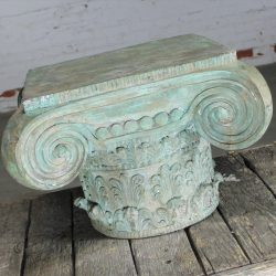 Vintage Patinated Bronze Ionic Capital Table Base or Pedestal