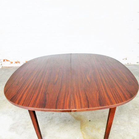 Rosewood Squircle to Oval Shaped Expanding Dining Table Mid Century Modern