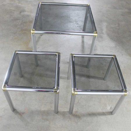 Mid Century Modern Tubular Chrome Brass & Smoke Glass Trio of Cocktail/End Tables