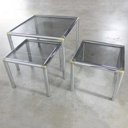 Mid Century Modern Tubular Chrome Brass & Smoke Glass Trio of Cocktail/End Tables