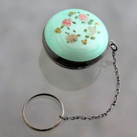 Art Deco Turquoise Guilloche & Sterling Chatelaine Tiny Ring Compact with Hand Painted Flower Design