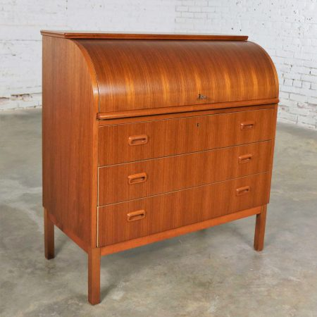 Scandinavian Modern Teak Rolltop Writing Desk Attributed to Egon Ostergaard