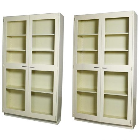 Industrial Metal Cabinet with Glass Doors for Display or Bookcase – Two Available
