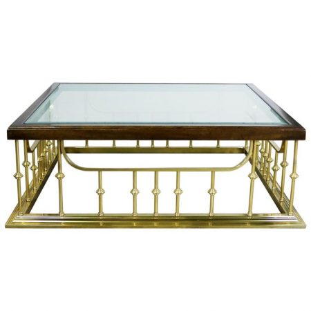 Brass Glass and Wood Fireplace Fender Style Large Square Coffee Table