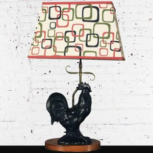 Vintage Mid Century Black Ceramic Rooster Table Lamp