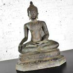 Large Bronze Tibetan Enlightenment Seated Buddha Sculpture Patinated