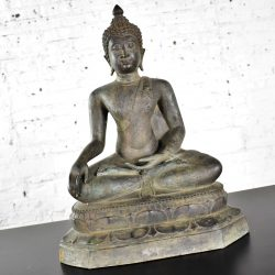 Large Bronze Tibetan Enlightenment Seated Buddha Sculpture Patinated