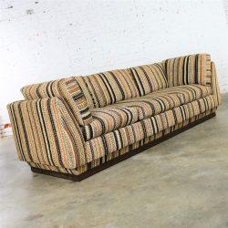 Handsome Mid Century Modern Sofa Tuxedo Striped Platform Lee Harvey Original by Maddox