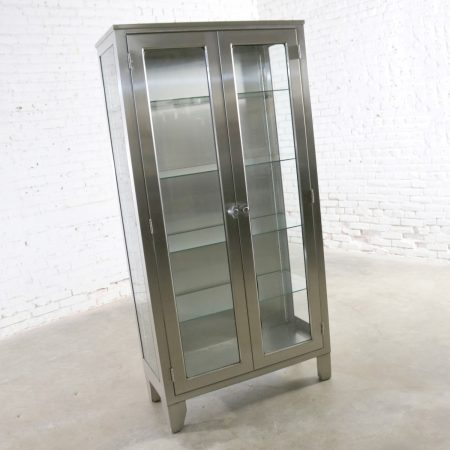 Vintage Stainless Steel Industrial Display Apothecary Medical Cabinet with Glass Doors and Shelves 39-6