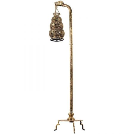 Antique Tibetan Hammered and Pierced Brass Dragon Floor Lamp