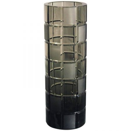 Vintage Smoke Grey Glass Cylindrical Vase, Orrefors Legend Square Style