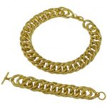 Chunky Gold-Tone Curb Chain Choker and Bracelet in the Style of Christian Dior