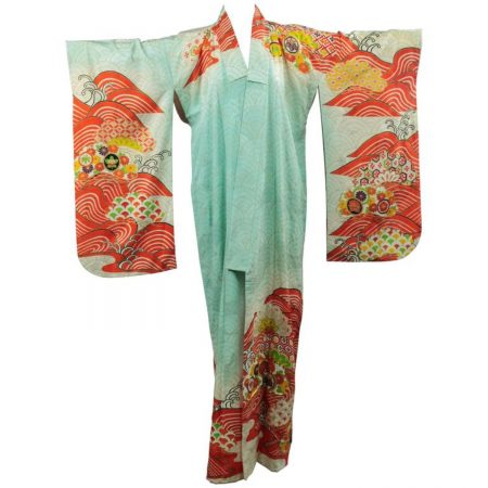 Vintage Japanese Turquoise and Orange Full Length Silk Kimono