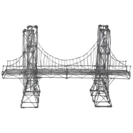 Vintage Folk Art Wire Suspension Bridge Model Sculpture