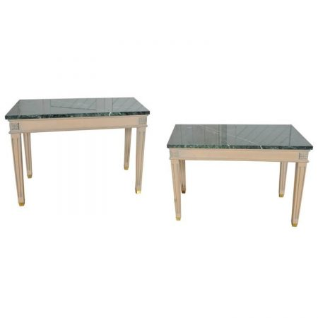 Vintage Pair of Neoclassical Marble-Top End or Side Tables