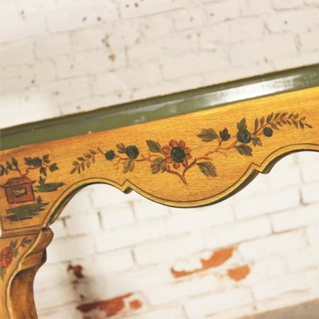 Antique Chinoiserie Hand Painted Oval Dining Table with Cabriole Legs