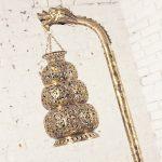 Antique Tibetan Hammered and Pierced Brass Dragon Floor Lamp