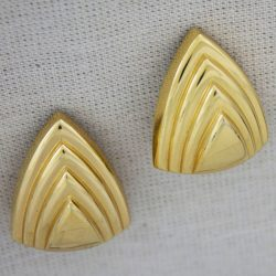 Vintage Christian Dior Gold-Tone Graduated Circular Triangle Clip Earrings