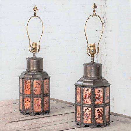Vintage Pair of Pewter Asian Style Nonagon Table Lamps