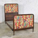 Antique French Carved Walnut and Upholstered Twin Bed with Asian Figural Fabric