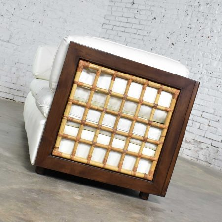 Modern White Leather and Dark Wood Cube Case Sofa with Rattan Panel Inserts